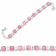 Natural pink kunzite 925 sterling silver tennis bracelet jewelry m26525