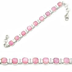 Natural pink kunzite 925 sterling silver tennis bracelet jewelry m26533