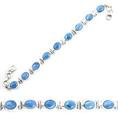 Natural blue owyhee opal 925 sterling silver tennis bracelet jewelry m29352
