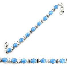 Natural blue owyhee opal 925 sterling silver tennis bracelet jewelry m29355