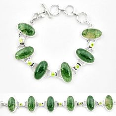 Natural green moss agate peridot 925 sterling silver tennis bracelet m32207