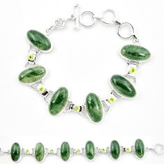 Natural green moss agate peridot 925 sterling silver tennis bracelet m32208