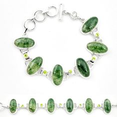 Natural green moss agate peridot 925 sterling silver tennis bracelet m32209