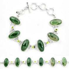 Natural green moss agate peridot 925 sterling silver tennis bracelet m32210