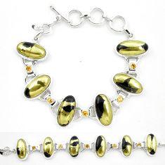 Natural golden pyrite in magnetite (healer's gold) 925 silver bracelet m32216