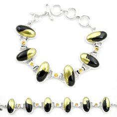 Natural golden pyrite in magnetite (healer's gold) 925 silver bracelet m32218