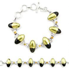 Natural golden pyrite in magnetite (healer's gold) 925 silver bracelet m32219