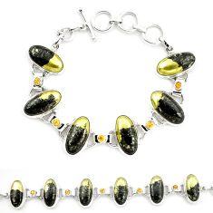Natural golden pyrite in magnetite (healer's gold) 925 silver bracelet m32220