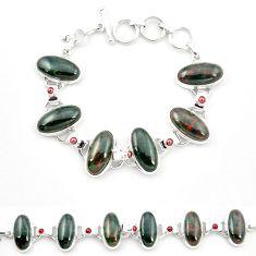 Natural green bloodstone african (heliotrope) 925 silver tennis bracelet m32221