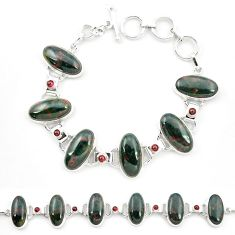 Natural green bloodstone african (heliotrope) 925 silver tennis bracelet m32222