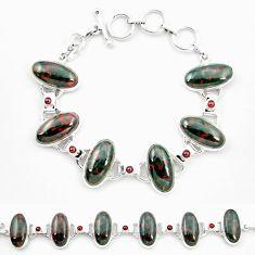 925 silver natural green bloodstone african (heliotrope) tennis bracelet m32224