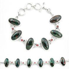 Natural green bloodstone african (heliotrope) 925 silver tennis bracelet m32226