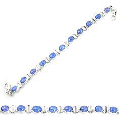Natural blue tanzanite 925 sterling silver tennis bracelet jewelry m35434