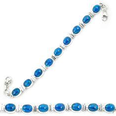 Natural blue apatite (madagascar) 925 sterling silver tennis bracelet m42129