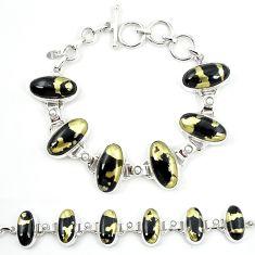 Natural golden pyrite in magnetite (healer's gold) 925 silver bracelet m4444