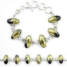 Natural golden pyrite in magnetite (healer's gold) 925 silver bracelet m4445