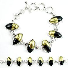 Natural golden pyrite in magnetite (healer's gold) 925 silver bracelet m4447