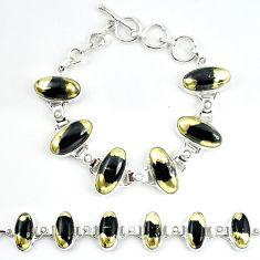 Natural golden pyrite in magnetite (healer's gold) 925 silver bracelet m4448