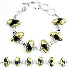 Natural golden pyrite in magnetite (healer's gold) 925 silver bracelet m4449