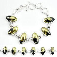 Natural golden pyrite in magnetite (healer's gold) 925 silver bracelet m4451