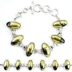 925 silver natural golden pyrite in magnetite (healer's gold) bracelet m4455