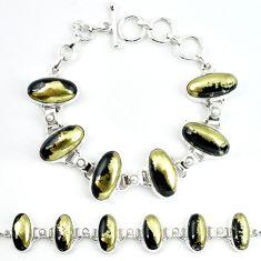 Natural golden pyrite in magnetite (healer's gold) 925 silver bracelet m4456