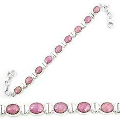 Natural purple phosphosiderite (hope stone) 925 silver tennis bracelet m8653