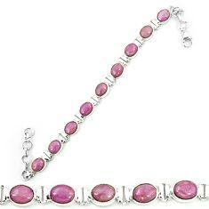 Natural purple phosphosiderite (hope stone) 925 silver tennis bracelet m8657