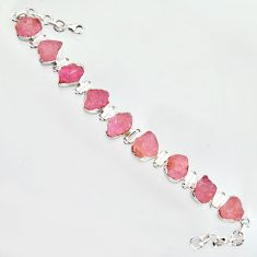 56.73cts natural pink morganite rough 925 sterling silver tennis bracelet r14663