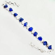 38.72cts natural blue sapphire rough 925 sterling silver tennis bracelet r14664
