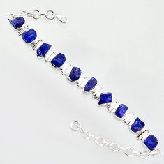 39.93cts natural blue sapphire rough 925 sterling silver tennis bracelet r14667