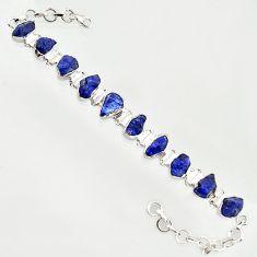 41.98cts natural blue sapphire rough 925 sterling silver tennis bracelet r14668