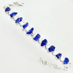 925 sterling silver 40.73cts natural blue sapphire rough tennis bracelet r14669