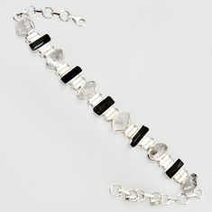 925 silver 37.47cts natural white herkimer diamond tennis bracelet r14672
