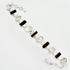 48.62cts natural white herkimer diamond 925 silver tennis bracelet r14673
