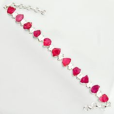 925 sterling silver 48.35cts natural pink ruby rough tennis bracelet r14675