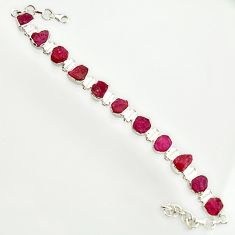 45.91cts natural pink ruby rough 925 sterling silver tennis bracelet r14677