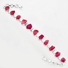 925 sterling silver 43.32cts natural pink ruby rough tennis bracelet r14678