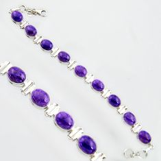 38.72cts natural purple charoite (siberian) 925 silver tennis bracelet r14680