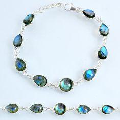 23.74cts natural blue labradorite 925 sterling silver tennis bracelet r69393