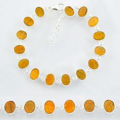 19.61cts natural brown tiger's eye 925 sterling handmade silver bracelet r88266