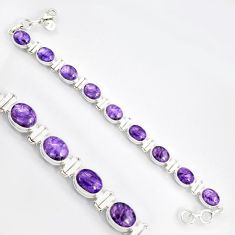 38.68cts natural purple charoite (siberian) 925 silver tennis bracelet r9581