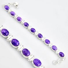 37.86cts natural purple charoite (siberian) 925 silver tennis bracelet r9583