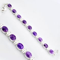 925 silver 38.31cts natural purple charoite (siberian) tennis bracelet r9584