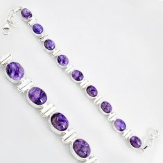 37.86cts natural purple charoite (siberian) 925 silver tennis bracelet r9585
