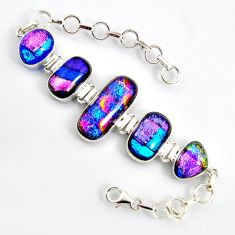 54.73cts multi color dichroic glass 925 sterling silver tennis bracelet r9587