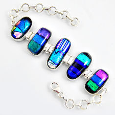 72.06cts multi color dichroic glass 925 sterling silver tennis bracelet r9588