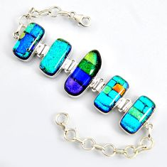 925 sterling silver 69.85cts multi color dichroic glass tennis bracelet r9589