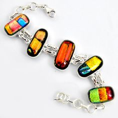 69.36cts multi color dichroic glass 925 silver tennis bracelet jewelry r9590