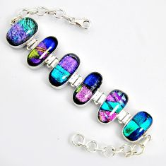 72.55cts multi color dichroic glass 925 sterling silver tennis bracelet r9591